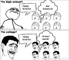 Difference Between #School and College - TrollTree  Share Funny Students Trolls - http://www.trolltree.com/