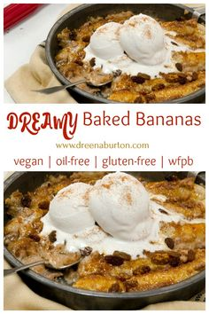 Dessert dreams DO come true! These Dreamy Baked Bananas are dairy-free, vegan, gluten-free, and made without margarine or oils! Dessert Sans Gluten, Vegan Dessert Recipes, Gluten Free Desserts, Whole Food Recipes, Cooking Recipes, Dessert Food, Whole Foods, Photo Food, Baked Banana