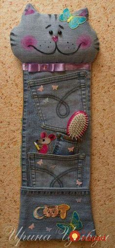 Let's Continue to Submit Crafts from Jeans (denim) Jean Crafts, Denim Crafts, Fabric Crafts, Sewing Crafts, Sewing Projects, Sewing Jeans, Denim Ideas, Recycle Jeans, Old Jeans