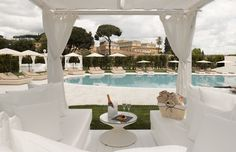 Pristine cabana and beautiful pool at the Gran Melia Rome Villa Agrippina in Italy