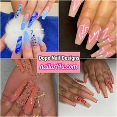 Dope Nail Designs - Nail Art 4u Latest Nail Designs, Green Nail Designs, Nail Art Designs Videos, Cute Nail Art Designs, Acrylic Nail Designs, Neon Pink Nail Polish, Light Pink Acrylic Nails, Purple Glitter Nails, Simple Acrylic Nails