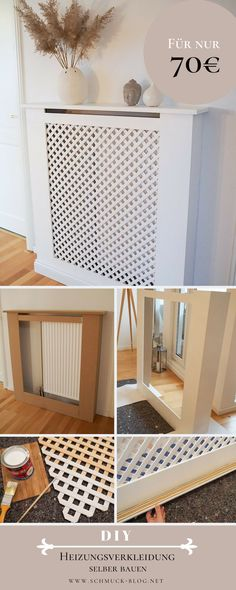 DIY Heizkörperverkleidung selber bauen – Anleitung You want to hide your heating and want to build a beautiful radiator cover yourself? It is not difficult and costs just 70 €! Home Hacks, Diy Hacks, Unique Home Decor, Cheap Home Decor, Bathroom Interior, Interior Design Living Room, Diy Interior, Diy Mobile, Home Living Room