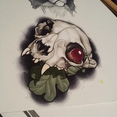 Skulls: One for the homie - Tattoo MAG Cat Skull Tattoo, Animal Skull Tattoos, Skull Tattoo Flowers, Animal Skulls, Traditional Tattoo Animals, Neo Traditional Tattoo, Dibujos Tattoo, Desenho Tattoo, Tattoo Sketches