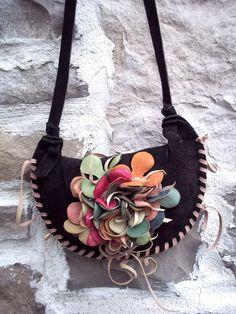 brown suede leather shoulder purse or hip bag with by tuscada, $109.00
