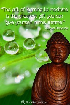 """The gift of learning to meditate is the greatest gift you can give yourself in this lifetime."" Feeling a bit stressed or overworked in life? 101 Heart-warming meditation quotes by Sogyal Rinpoche and other teachers here: http://bookretreats.com/blog/101-quotes-will-change-way-look-meditation"