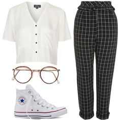 2f740f251889 Untitled  1181 by noellescholte on Polyvore featuring Topshop and Converse  Ootd Fashion