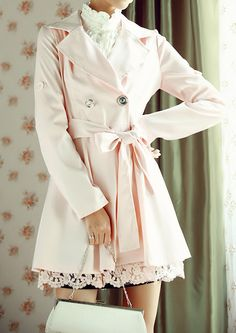 """""""pink trench coat equals love at first sight. Blazers, Looks Style, Style Me, Pretty Outfits, Cute Outfits, Emo Outfits, Girl Outfits, Pink Trench Coat, Pea Coat"""