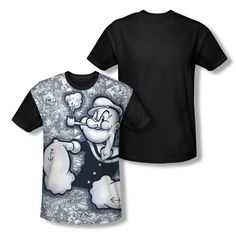 Popeye Biker Motorcycle KING OF THE ROAD Adult Long Sleeve T-Shirt S-3XL