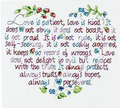 LOVE IS PATIENT STAMPED CROSS STITCH  KIT DESIGN working on this one currently.