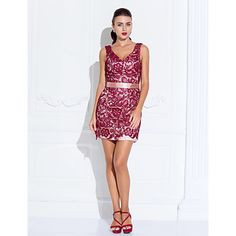 Cocktail Party/Holiday Dress - Multi-color Sheath/Column V-neck Short/Mini Lace/Stretch Satin – USD $ 99.99