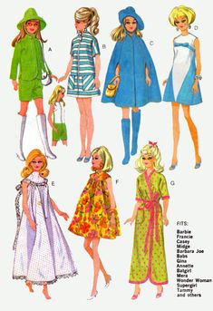 My Mother used to make barbie cloths for me all the time out of these patterns