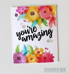 Modern Blooms, Watercolor Flowers, Written in Watercolor - Yoonsun Hur #mftstamps