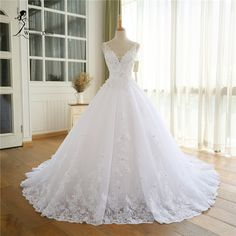Find More Wedding Dresses Information about 2017 Lace Appliques Vestido De Novia V Neck A Line Beck Sweep Train Lace Wedding Dress Bridal Dresses Robe De Mariage,High Quality dress pregnancy,China dresses dubai Suppliers, Cheap dresses for pear shaped women from Isabel_Ye *^_^* on Aliexpress.com