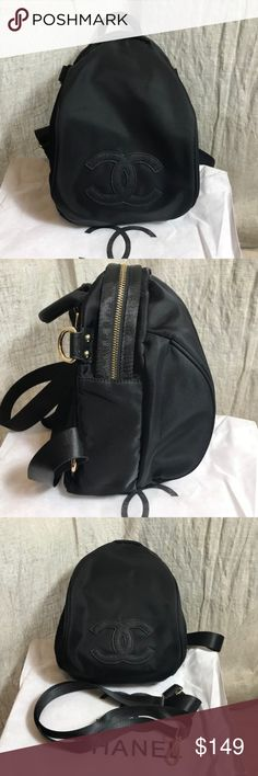 """Chanel Vip Gift backpack cross body bag New Black Authentic Chanel Vip Gift 2017 Black backpack cross body bag from Korea. Material Nylon and Gold hardware. Size H12""""xW8""""xD6. Vip Gift doesn't come with serial number or any card. Brand New with Dust bag and extra strap. Beautiful Item . CHANEL Bags Backpacks"""