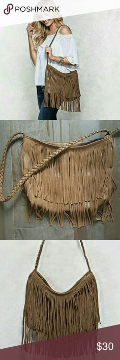 "Fringe Purse This fashion handbag features a braided strap with fringe detail. Fits with 2 open pockets and zip closure.   🔸Measurements: 12.5""L, 11""H ( 26.5""H with shoulder strap)  🚫No trades🚫  ✔Reasonable offers considered (Item #41) Bags Shoulder Bags"
