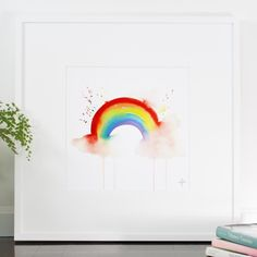 Somewhere over the Rainbow Print Rainbow in watercolour. High quality reproductions of my original handmade watercolour paintings. I now print them myself, so I can put as much care in the Kids Watercolor, Watercolor Cards, Watercolor Paintings, Watercolour Pens, Rainbow Drawing, Rainbow Painting, Rainbow Tattoos, Rainbow Print, Over The Rainbow