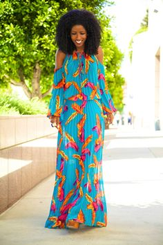 Bohemian Pleated Maxi Dress