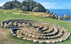 Stone labyrinth, beautiful image with sea, land and sky.