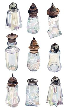 #Watercolour #Vintage #SugarShakers by #HollyExley .. #Illustration #Art ..