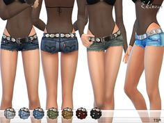The Sims Resource: Cutoff Denim Shorts With Belt by Ekinege • Sims 4 Downloads
