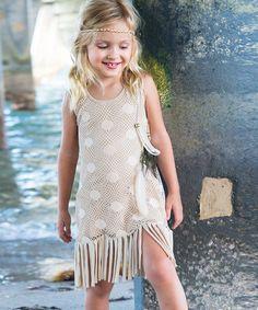 $21.99 marked down from $76! Beige Crochet-Accented Carol Dress - Toddler & Girls #zulily #toddler #girls #dress #fringe #boho #gatsby #wedding #party #zulilyfinds