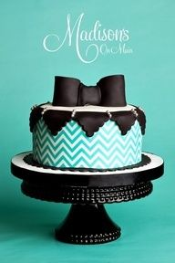 Turquoise Chevron #wedding #Cakes http://www.finditforweddings.com