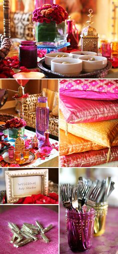 Moroccan Themed Baby Shower--- ooh love the rich hues of yellow n magenta.. Kinda Indian too!!
