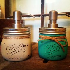 Pint Size Mason Jar Soap Dispensers- Elite Style- Country Twill and Turquoise-  Pick any colors on Etsy, $36.99
