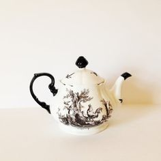 BLACK & WHITE TEAPOT  Roosters Birds Toile by AnnmarieFamilyTree
