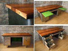 Vintage steel desk with reclaimed wood top.