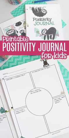 Adorable printable Positivity Journal to help encourage gratitude and happiness! This gratitude journal is great for kids and adults and encourages you to record positive experiences every day. Perfect for Thanksgiving or to give as a gift. Kids and adults will love this adorable sloth journal with prompts for gratitude and character each day. #journal #journaling #journalideas #sloth #gratitudejournal