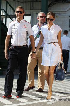 Jenson Button, McLaren with girlfriend Jessica Michibata