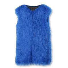 Blue Collarless Open Front Faux Fur Waistcoat ($53) ❤ liked on Polyvore featuring outerwear, vests, blue waistcoat, fake fur vest, blue vest, blue faux fur vest and faux-fur vests