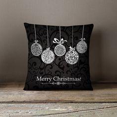 Holiday Pillows Christmas Pillows Festive by wfrancisdesign Black Christmas, Modern Christmas Decor, Elegant Christmas, Christmas Baubles, All Things Christmas, Christmas Stockings, Merry Christmas, Christmas Sewing, Christmas Embroidery