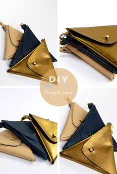 DIY triangle leather pouch tutorial.