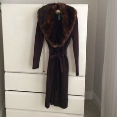 "Ralph Lauren Lauren sweater coat Lauren sweater coat. Absolutely gorgeous. Approx 44"" long, detachable faux fur collar. Excellent condition 82% wool 18% cashmere. Will fit S/M Ralph Lauren Jackets & Coats"