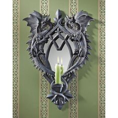 Bring mystical charm to your decor with the Design Toscano Double Trouble Gothic Dragon Mirrored Wall Sculpture. This dragon reposes and his tail holds a tea light, bringing light to unexpected places in your design scheme. Wall Candle Holders, Candlestick Holders, Candlesticks, Spiegel Design, Medieval Gothic, Medieval Dragon, Chandelier, Gothic Home Decor, Gothic House