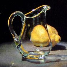 Jeffrey Hayes: Contemporary Still Life Paintings: Glass Creamer and Lemon Realistic Paintings, Paintings I Love, Oil Paintings, Portrait Paintings, Indian Paintings, Acrylic Paintings, Painting Still Life, Still Life Art, Still Life Images