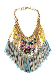 Colorful Beaded Leather Tassel Necklace Womens by ChandraJewelry