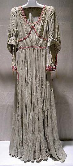 Embroidered grey silk medieval-style dress, by Jessie Franklin Turner, American, 1942.