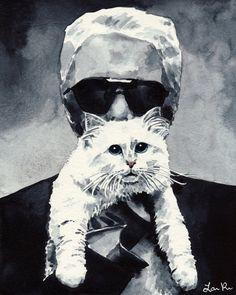 Choupette Chanel chat Karl Portrait chaton Estampe de