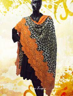 Animal Print Pashmina With Orange Lace