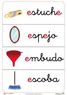 Fichas de letras que comienza con la letra e y fichas de vocabulario con la letra e: espejo, embudo, etc.