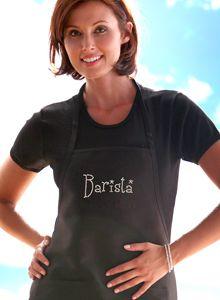 Barista Rhinestone Italian Apron for Women (AN EXCLUSIVE DESIGN) - click here to view full apron (Robin)