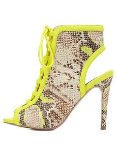 Pyhton Print Lace-Up Peep Toe Booties: Charlotte Russe