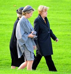 Queen Mathilde (L) of Belgium and Prime Minister of Germany Angela Merkel (R) attend the commemoration of 100th anniversary of WWI in Nieuwpoort, Belgium. on 28.10.2014