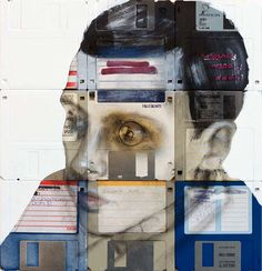 uses floppy disks as part of backgrounds for his paintings.