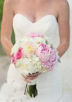 Lovely bouquet of white hydrangeas, pink peonies, dahlias and roses. Photo by Imago Vita Photography. #wedding #bouquet #pink