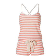JUICY COUTURE Fizzy Peach Striped Short Jumpsuit ($40) ❤ liked on Polyvore featuring jumpsuits, rompers, pajamas, pijamas, dresses, red jumpsuit, sexy rompers, short romper, short romper jumpsuit and summer jumpsuits