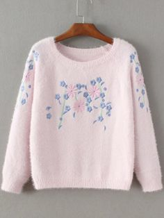 Pink Floral Embroidery Mohair Sweater